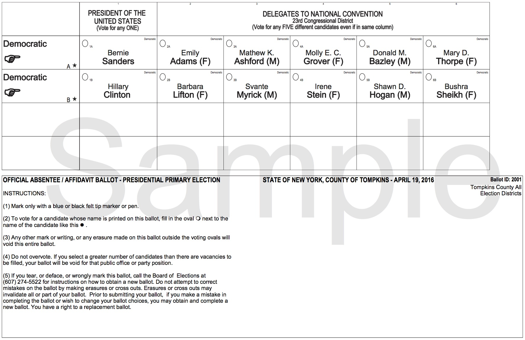 NYS Presidential PRIMARY Sample Ballots | New NY 23rd