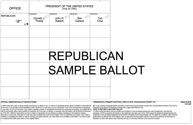Republican Primary Sample Ballot